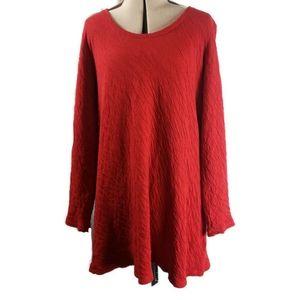 J.Jill PureJill Red Long Sleeve Tunic Dress  PXS